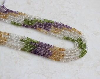 Multi Gemstone Citrine Peridot Amethyst Faceted Rondelle 4.5mm 120 beads Full strand