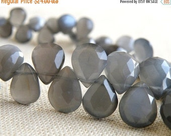 Clearance SALE Grey Moonstone Gemstone Briolette Faceted Pear Teardrop 11 to 13mm 12 beads