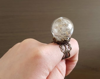 Dandelion ring, Make a Wish flower botanical seed ring, antique bronze filigree adjustable ring