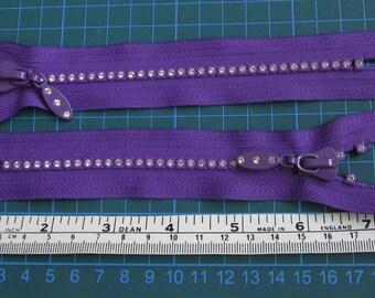 Two purple rhinestone crystal 6 inch zipper zips