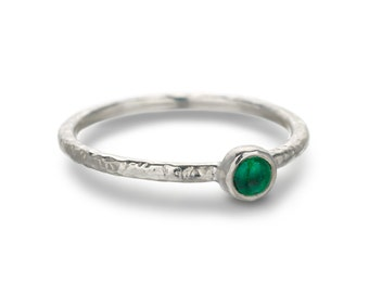 Silver Hammered Emerald Stacking Ring