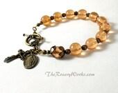 Miraculous Medal Rosary Bracelet Chaplet Peach Lampwork Bronze St Benedict Single Decade Prayer Beads