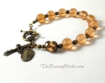 Miraculous Medal Rosary Bracelet Chaplet Peach Lampwork Bronze St Benedict Single Decade Prayer Beads