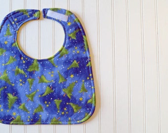Christmas Trees & Yellow Fizz - Reversible Sewn Baby Bib
