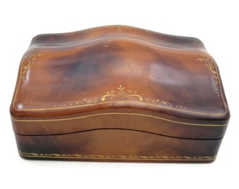 Vintage Leather Box - Gold Tooled
