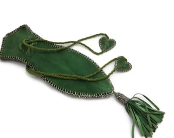 Antique Green Suede and Steel Cut Beaded Purse
