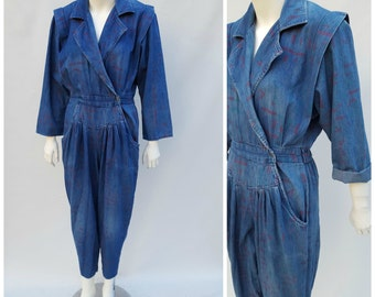 Vintage Denim Jumpsuit  // Vtg 1980s FADS Made in the USA Soft Distressed Printed Denim Jumpsuit