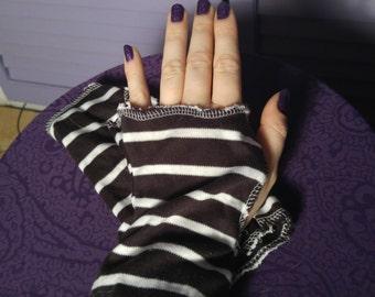 Black White Striped Fingerless Gloves