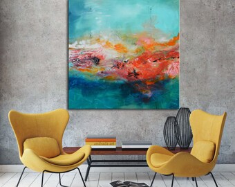 Blue and gold painting on canvas, abstract art, red blue painting , lobby art, office painting, living room art, abstract sunset