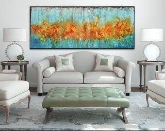 Long modern painting on canvas, abstract art, orange aqua blue painting , lobby art, office painting, living room wall art, textured art