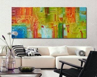 Original painting on canvas, ready to hang, Acrylic modern art painting, Orange Green Painting, texturrd painting, abstract large art