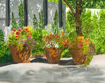 Flower Landscape Painting Print, Flower Pots, Sunny Day Shadows, Flowers, Watercolor Painting Print, Fine Art, Home Decor, 8 x 10, Giclee