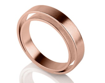 14K Rose Gold Double Ring , Unique Gold Ring , Duplication Ring , Elegant Ring , Rose Gold Band , White Gold Ring