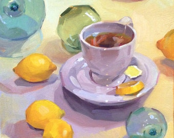 "Sale! Art painting still life ""Lemon Tea"" original oil by Sarah Sedwick 12x12"""