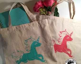 Unicorn cute tote bag // Natural Canvas Tote