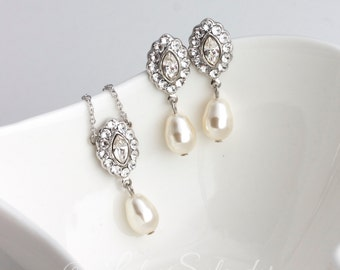Pendant Wedding Necklace Bridal Necklace and Earrings Set Simple Wedding Jewelry Pearl Drop Necklace and Earrings MAE