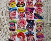Made In Spain Vintage Head Scraps Die Cut Paper Out Of Print Circa 1970s  S-7