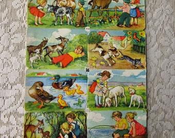 Vintage EAS Germany Die Cut Paper Scraps On The Farm  EAS 3139