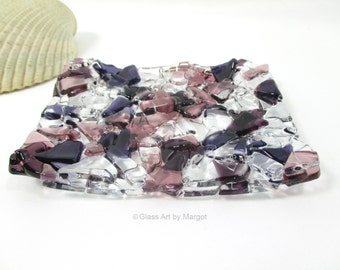 Soap Dish Recyled Fused Glass Shades of Purple Free Shipping