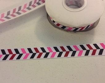 "Pink Red Black White Tire Grosgrain Ribbon  7/8"" USDR USD Ribbon"