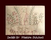 Christmas Cheese Box Santa-Primitive Stitchery  E-PATTERN by Primitive Stitches-Instant Download
