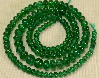 3.5mm-6.3mm Zambian EMERALD Smooth rondelle Beads 17 inch strand