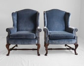 reserved for Christine 2 vintage steel blue velvet Chippendale style wing chairs