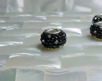 3pcs Big Hole Black/Clear Polka Dot Rhinestone Spacer Pave Beads Rondelles Fits European style Bracelets Jewelry Jewellery Craft Supplies