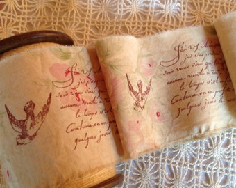 NEW DESIGN - Romance & Roses - Hand Stamped Trim - French Script - French Doves