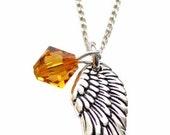 "Archangel Gabriel Swarovski Crystal, Pewter Angel Wing Charm Pendant, Sterling Sivler 18"" Necklace, Angel Wing Jewelry"
