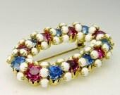 Vintage Juliana Rhinestone Brooch Blue & Pink Oval Rhinestone Brooch