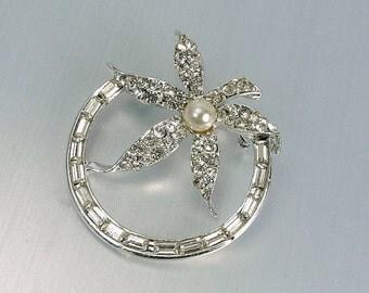Vintage Rhinestone & Pearl Flower Brooch