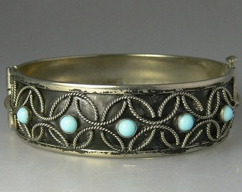 Vintage Silver Faux Turquoise Hinged Bangle Bracelet