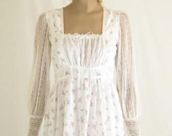 Vintage 70's GUNNE SAX Maxi Dress. Size X Small