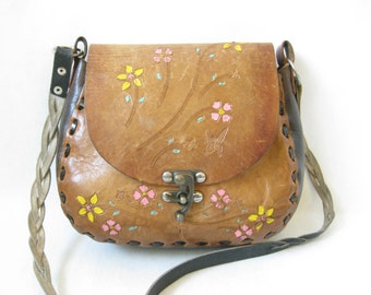 Vintage 70's Tooled Leather Boho Purse