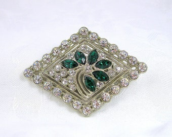 Vintage Rhinestone Brooch Floral Motif Crystal Emerald Silvertone Restored