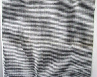 Antique 1920 Vintage Dark Blue and White Cotton Small Check  Fabric, Half Yard, Antique Textile, Blue and White
