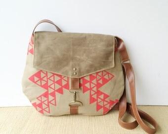 satchel • waxed canvas crossbody bag - geometric print • hot pink - khaki canvas - triangle print - brown waxed canvas • vukani