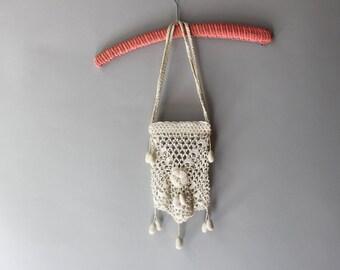 Antique Reticule / 1910s Crochet Purse / Cream Crochet 1920s Reticule Bag