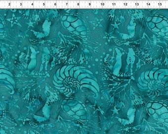 Floragraphix Batik Teal Jason Yenter Fabric 1 yard