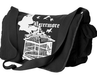 Raven Bag Gothic Messenger Bag Poe Raven steampunk aethetic Nevermore Bag alternative clothing gothic lolita poetic gift hipster poetry geek