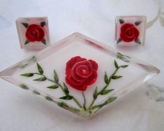 vintage carved lucite rose flower parure set brooch and earrings - j5965