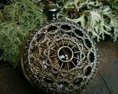Gothic Steampunk Red Black Gold Eye Pocket Watch