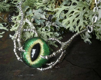 Gothic Steampunk Raven Claw With Green Gold Eye Small