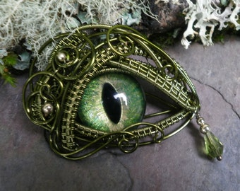 Gothic Steampunk Green Eye Pendant with Matching Tear Part 2