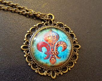 Steampunk Inspired Fleur De Lis Musketeers Necklace