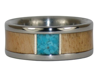 Turquoise Titanium Ring with Mango Wood