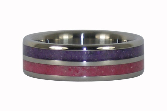 Crushed Amethyst Inlay : Ruby and purple sugilite crushed gemstone inlay titanium ring
