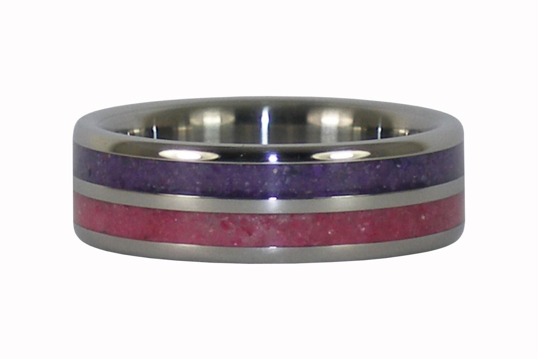 Crushed Gemstone For Inlays : Ruby and purple sugilite crushed gemstone inlay titanium ring