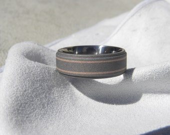 Titanium Ring with Rose Gold Pinstripes, Wedding Band, Stepped Edge, Sandblasted